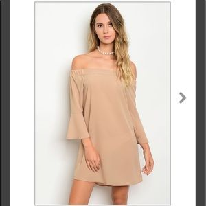 HP💕AVAILABLE 💕Taupe Off-the-shoulder Dress